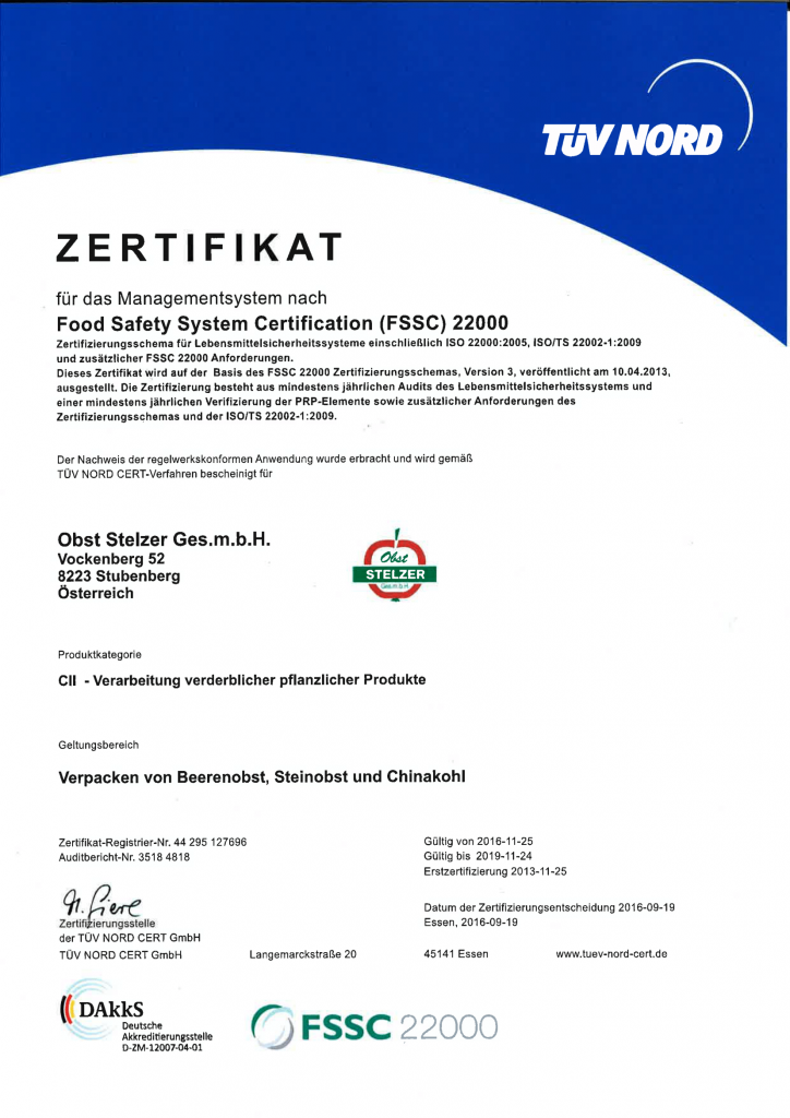 Obst Stelzer GmbH | Certifications